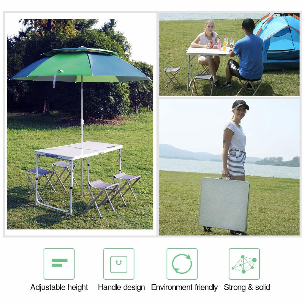 The Outdoor adjustable camping table from REDCAMP